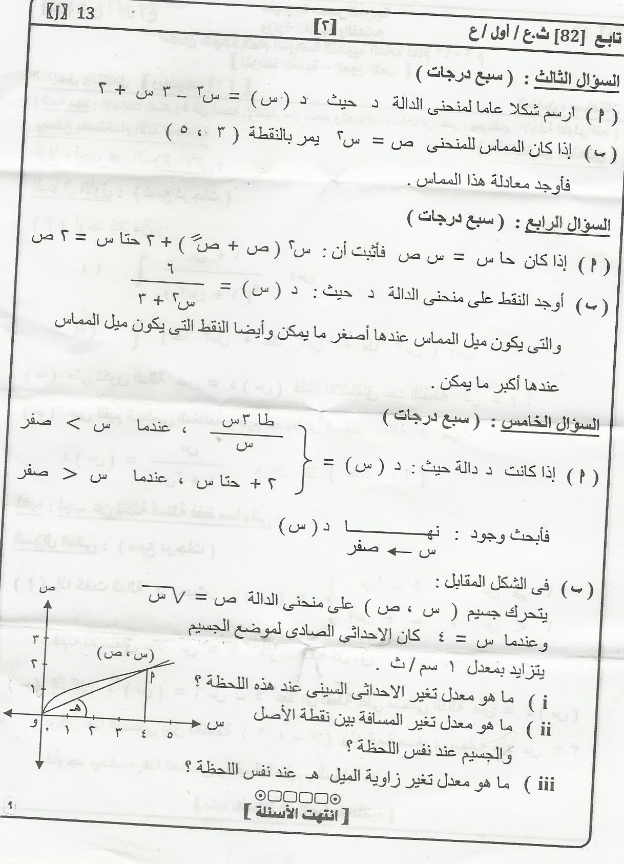 امتحان التفاضل والتكامل للثانوية العامة 2013 والاجابة النموذجية 196321114