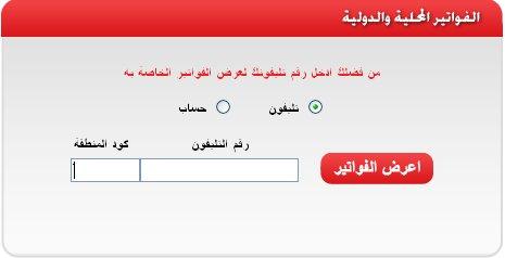 الاستعلام عن فاتورة التليفون الارضى لشهر يناير 2014 من المصرية للاتصالات