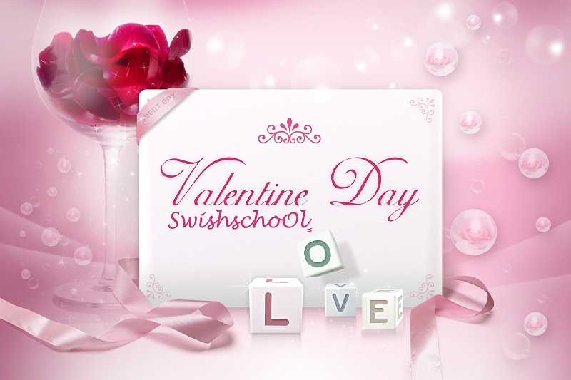 ملف مفتوح psd بطاقة عيد الحب باللون الزهري ,   Pink Valentines Card PSD