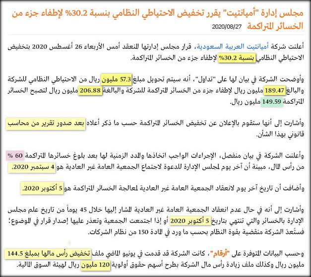 الإغلاقات السنوية رمز 2160 شركة أميانتيت العربية السعودية نادي خبراء المال